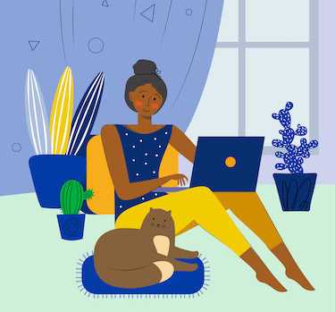 illustration of lady working from home